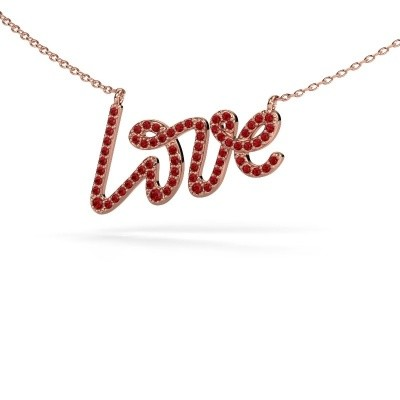 Picture of Pendant Love 375 rose gold ruby 1 mm