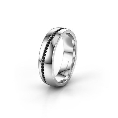 Trouwring WH0109L25A 950 platina zwarte diamant ±5x1.7 mm