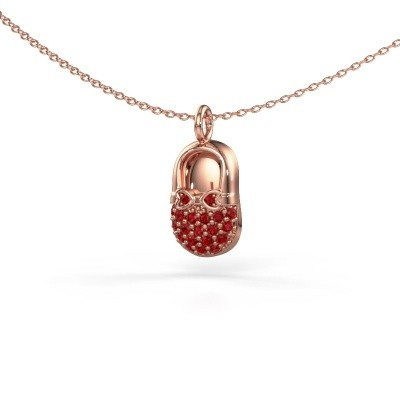 Picture of Pendant Babyshoe 375 rose gold ruby 1.3 mm