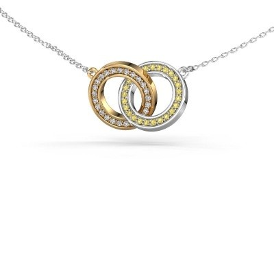 Picture of Necklace Circles 2 585 gold yellow sapphire 1 mm