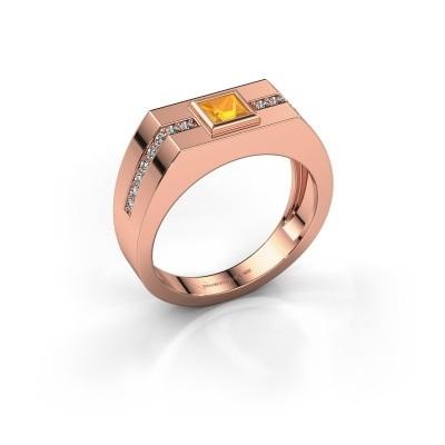 Foto van Heren ring Robertus 2 375 rosé goud citrien 4 mm