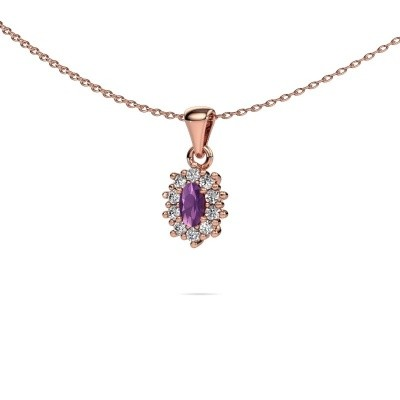 Picture of Necklace Leesa 375 rose gold amethyst 6x4 mm