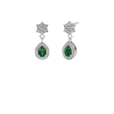 Picture of Drop earrings Era 585 white gold emerald 6x4 mm