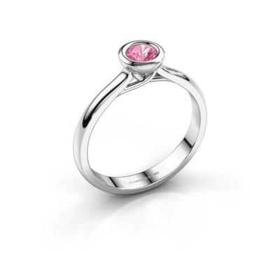 Foto van Verlovings ring Kaylee 585 witgoud roze saffier 4 mm