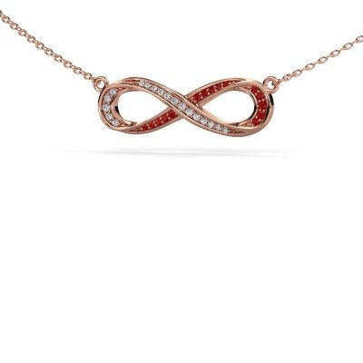 Picture of Necklace Infinity 2 375 rose gold ruby 0.8 mm