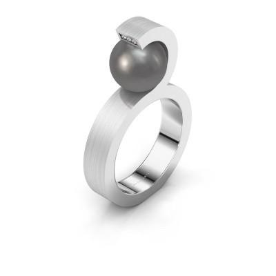 Foto van Ring Juana 585 witgoud grijze parel 9 mm