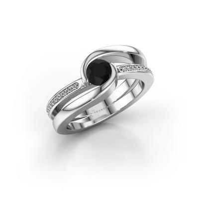 Foto van Ring Xenia 950 platina zwarte diamant 0.70 crt