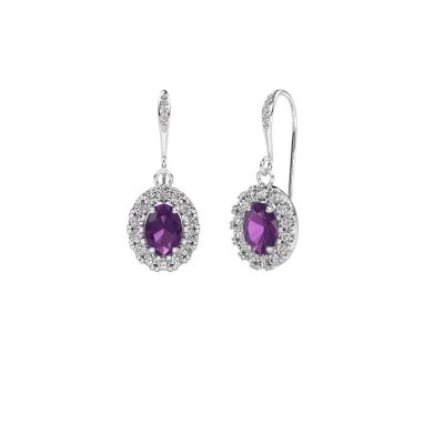 Picture of Drop earrings Jorinda 2 375 white gold amethyst 7x5 mm