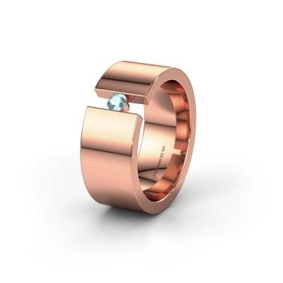 Trouwring WH0146L18BP 585 rosé goud aquamarijn ±8x2 mm