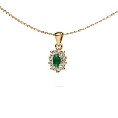 Picture of Necklace Leesa 375 gold emerald 6x4 mm