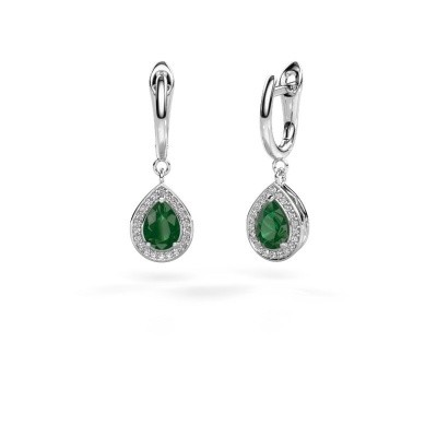 Picture of Drop earrings Ginger 1 925 silver emerald 7x5 mm