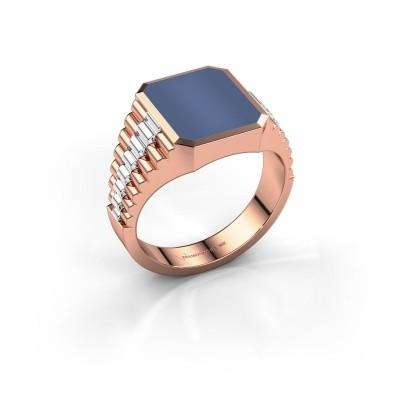 Foto van Rolex stijl ring Brent 2 585 rosé goud blauw lagensteen 12x10 mm