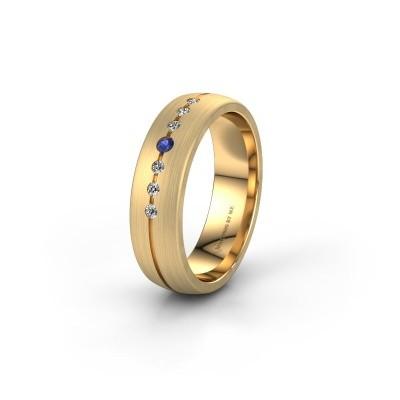 Trouwring WH0162L25A 585 goud saffier ±5x1.7 mm