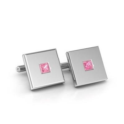 Foto van Manchetknopen Givanti 585 witgoud roze saffier 4 mm