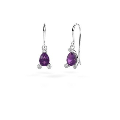 Picture of Drop earrings Bunny 1 375 white gold amethyst 7x5 mm