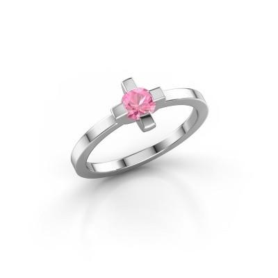 Foto van Ring Therese 925 zilver roze saffier 4.2 mm