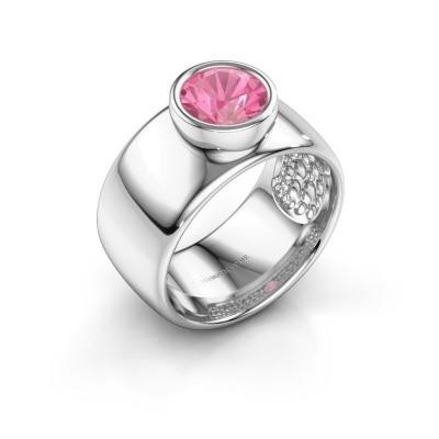 Foto van Ring Klarinda 925 zilver roze saffier 7 mm