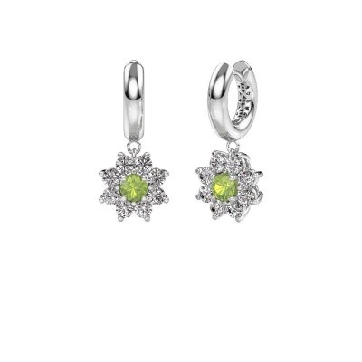 Picture of Drop earrings Geneva 1 585 white gold peridot 4.5 mm