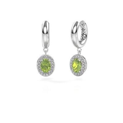 Picture of Drop earrings Annett 950 platinum peridot 7x5 mm