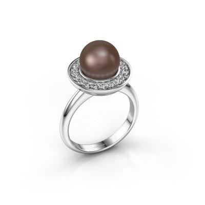 Foto van Ring Sarah 925 zilver bruine parel 9 mm