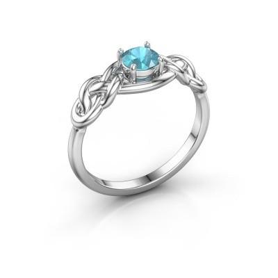 Ring Zoe 585 witgoud blauw topaas 5 mm
