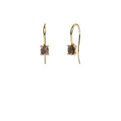 Picture of Drop earrings Cleo 585 gold smokey quartz 6x4 mm