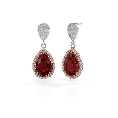 Picture of Drop earrings Cheree 2 585 rose gold ruby 12x8 mm