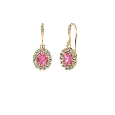 Picture of Drop earrings Jorinda 2 585 gold pink sapphire 7x5 mm