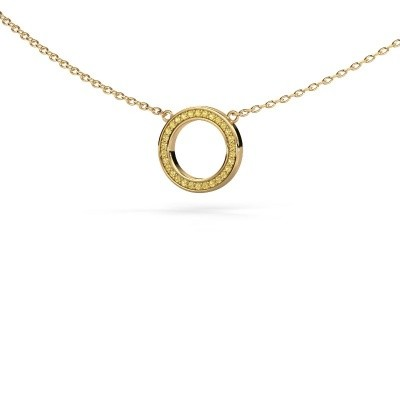 Picture of Pendant Round 1 585 gold yellow sapphire 0.8 mm