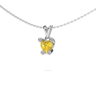 Picture of Necklace Cornelia Heart 950 platinum yellow sapphire 6 mm