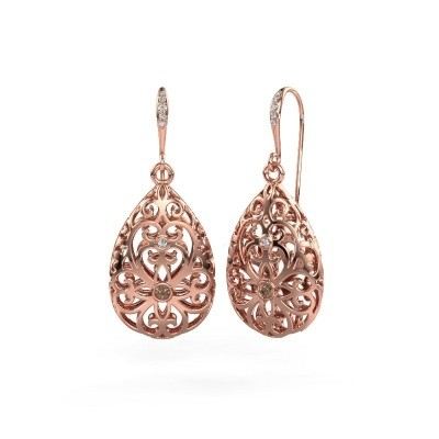 Picture of Drop earrings Idalia 2 375 rose gold brown diamond 0.105 crt