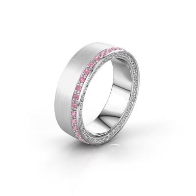 Trouwring WH2224L26C8 925 zilver roze saffier 1.3 mm ±6x2.2 mm