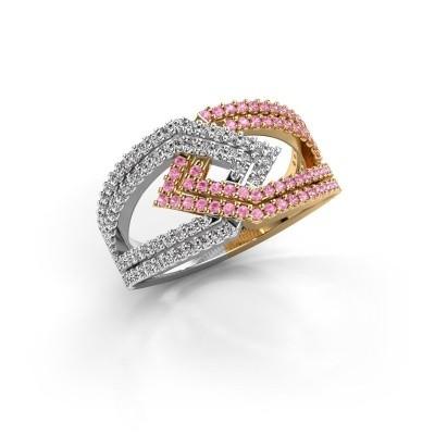 Foto van Ring Emanuelle 585 goud roze saffier 1 mm