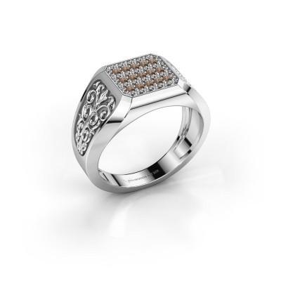 Foto van Heren ring Amir 925 zilver bruine diamant 0.468 crt
