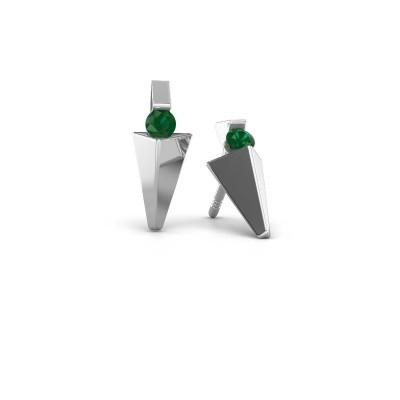 Bild von Ohrringe Corina 585 Weissgold Smaragd 3 mm