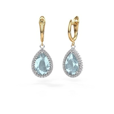 Picture of Drop earrings Hana 1 585 white gold aquamarine 12x8 mm