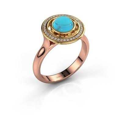 Foto van Ring Salima 585 rosé goud blauw topaas 6 mm