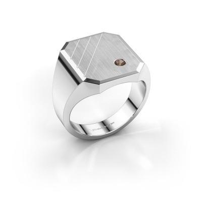 Foto van Zegelring Patrick 5 925 zilver rookkwarts 2 mm