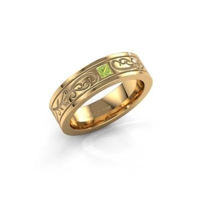 Foto van Heren ring Matijs 750 goud peridoot 3 mm