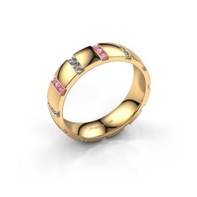 Huwelijksring Juul 375 goud roze saffier ±5x1.8 mm