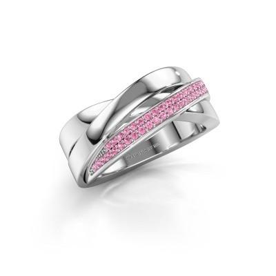 Foto van Ring Katherina 585 witgoud roze saffier 1 mm