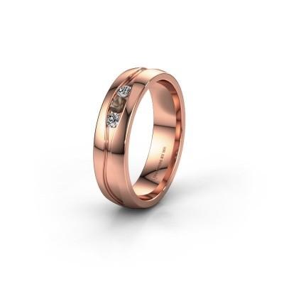 Trouwring WH0172L25A 585 rosé goud rookkwarts ±5x1.7 mm