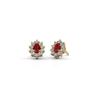 Picture of Earrings Leesa 375 gold ruby 6x4 mm