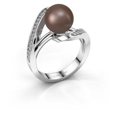 Foto van Ring Amber 585 witgoud bruine parel 9 mm