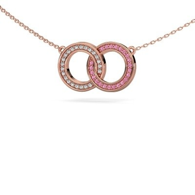 Picture of Necklace Circles 1 375 rose gold pink sapphire 1 mm