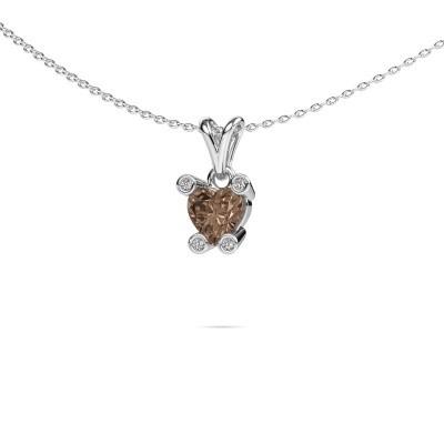 Picture of Necklace Cornelia Heart 950 platinum brown diamond 0.82 crt