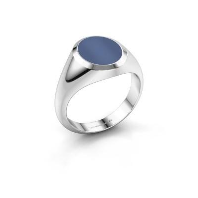 Foto van Zegelring Herman 2 950 platina blauw lagensteen 12x10 mm