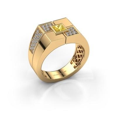Foto van Heren ring Rogier 585 goud gele saffier 4 mm