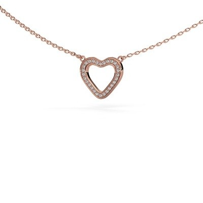 Picture of Pendant Heart 3 375 rose gold zirconia 0.8 mm