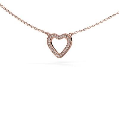 Foto van Hanger Heart 3 375 rosé goud zirkonia 0.8 mm